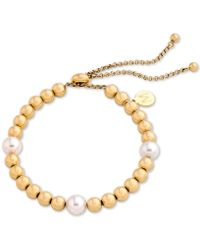 Majorica - Gold-tone Bead & Imitation Pearl Slider Bracelet - Lyst