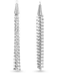 Catherine Malandrino - White Rhinestone Chain Tassel Style Silver-tone Dangle Earrings - Lyst
