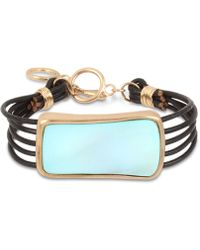 Robert Lee Morris - Gold-tone Imitation Mother-of-pearl & Leather Cord Bracelet - Lyst