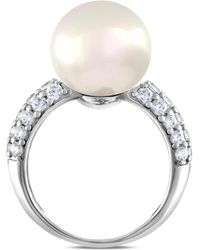 Majorica - Sterling Silver Cubic Zirconia & Imitation Pearl Ring - Lyst