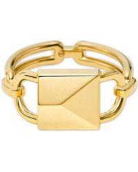 Michael Kors - 14k Gold-plated Sterling Silver Oversized Mercer Lock Cocktail Ring - Lyst