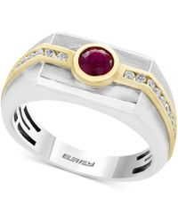 Effy Collection - Men's Ruby (5/8 Ct. T.w.) And Diamond (1/3 Ct. T.w.) Two-tone Ring In 14k Gold And White Gold - Lyst