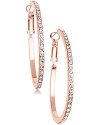 Guess - Rose Gold-tone Crystal Hoop Earrings - Lyst