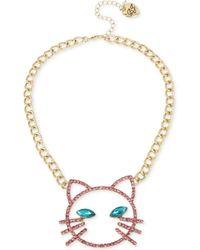 "Betsey Johnson - Gold-tone Pavé & Stone Cat Face Pendant Necklace, 16"" + 3"" Extender - Lyst"