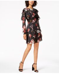 Adrianna Papell - Floral-print Ruffle Dress - Lyst