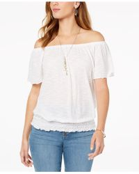 34486e879b2 BCBGeneration Smocked Off Shoulder Crop Top - Save 50% - Lyst