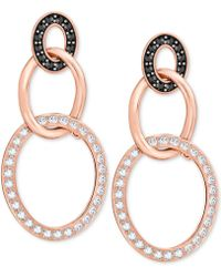 Swarovski - Crystal Pavé Triple Ring Drop Earrings - Lyst