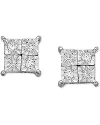 Macy's - Diamond Accent Square Earrings In 14k White Gold - Lyst