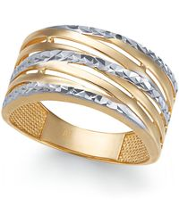 Macy's - Textured Statement Ring In 14k Gold & White Gold - Lyst