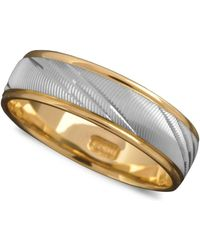 Macy's - Men's 14k Gold And 14k White Gold Ring, Flash Band (size 6-13) - Lyst