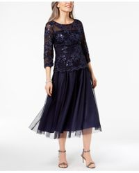 Alex Evenings - Sequined Illusion Midi Dress - Lyst
