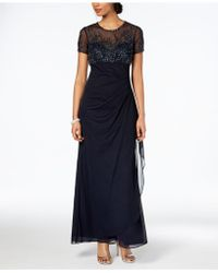 Xscape - Petite Beaded Illusion Gown - Lyst