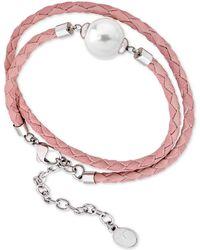 Majorica - Silver-tone Imitation Pearl Braided Leather Double-wrap Bracelet - Lyst