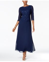 Alex Evenings - Dress, Elbow-sleeve Sequined Lace Gown - Lyst