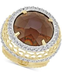 Macy's - Smoky Quartz (12-3/4 Ct. T.w.) & White Topaz (3/4 Ct. T.w.) Ring In 14k Gold-plated Sterling Silver - Lyst