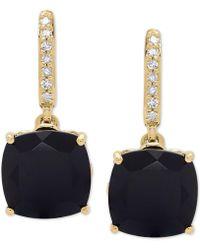 Macy's - Onyx (8mm) & Diamond Accent Drop Earrings In 14k Gold - Lyst
