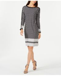 Charter Club - Petite Contrasting-print Shift Dress, Created For Macy's - Lyst
