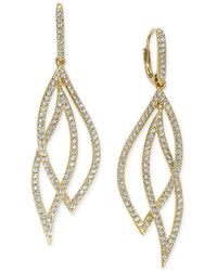 Danori - Pavé Crystal Leaf Earrings - Lyst
