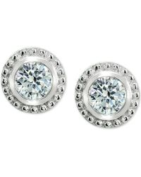 Giani Bernini - Cubic Zirconia Beaded Edge Stud Earrings In Sterling Silver, Created For Macy's - Lyst