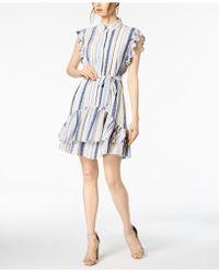 Julia Jordan - Striped Ruffled Shirtdress - Lyst