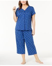 Charter Club - Plus Size Printed Picot-trim Pajama Set, Created For Macy's - Lyst