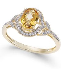 Macy's - Citrine (3/4 Ct. T.w.) & Diamond (1/8 Ct. T.w.) Ring In 14k Gold - Lyst