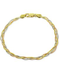 Giani Bernini - Tricolor Braided Bracelet In Sterling Silver, 18k Gold-plate & 18k Rose Gold-plate, Created For Macy's - Lyst