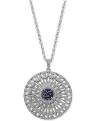 Macy's   Sapphire (1/2 Ct. T.w.) And Diamond (1/7 Ct. T.w.) Openwork Disc Pendant Necklace In Sterling Silver   Lyst