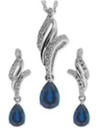 Macy's - Sapphire ( 1-1/10 Ct. T.w.) And White Topaz (3/8 Ct. T.w.) Jewelry Set In Sterling Silver - Lyst