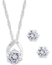 Charter Club - Silver-tone Crystal Pendant Necklace And Earrings Set - Lyst
