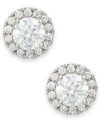 Macy's - Diamond Round Halo Stud Earrings In 14k White Gold (1/2 Ct. T.w.) - Lyst