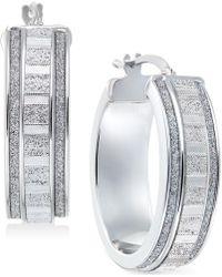 Macy's - Glitter Hoop Earrings In Sterling Silver - Lyst