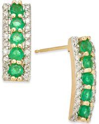 Macy's - Emerald (3/4 Ct. T.w.) & Diamond (1/4 Ct. T.w.) Stud Earrings In 14k Gold - Lyst