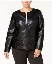 31c817d641954 Alfani - Plus Size Floral Faux Leather Jacket - Lyst