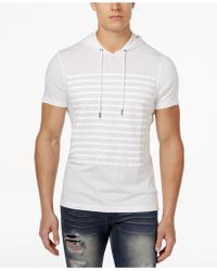 INC International Concepts - Men's Striped Short-sleeve Hoodie - Lyst