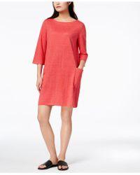 Eileen Fisher - Organic Linen Bateau-neck Shift Dress, Regular & Petite - Lyst