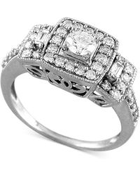 Macy's - Diamond Halo Three-stone Engagement Ring (3/4 Ct. T.w.) In 14k White Gold - Lyst