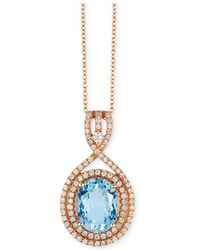 "Effy Collection - Effy® Aquamarine (2-3/8 Ct. T.w.) & Diamond (3/8 Ct. T.w.) 18"" Pendant Necklace In 14k Rose Gold - Lyst"