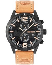 Timberland - Men's Sagamore Fawn Brown Leather Strap Watch 46mm - Lyst