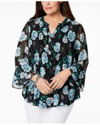 Charter Club - Plus Size Bell-sleeve Pintucked Tunic, Created For Macy's - Lyst