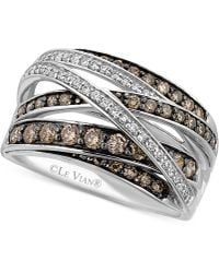 Le Vian - White (1/6 Ct. T.w.) And Chocolate (3/4 Ct. T.w.) Diamond Crossover Ring In 14k White Gold - Lyst