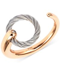 Charriol - White Topaz Accent Two-tone Circle Cuff Ring In Stainless Steel And Rose Gold-tone Pvd Stainless Steel - Lyst