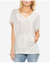 Vince Camuto - Hooded Pom Pom Top - Lyst