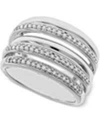 Macy's - Diamond Multi-layer Statement Ring (1/4 Ct. T.w.) In Sterling Silver - Lyst