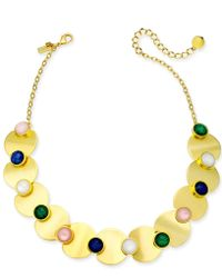 "Kate Spade - Gold-tone Multi-stone Collar Necklace, 17"" + 3"" Extender - Lyst"