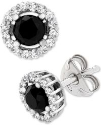 Wrapped in Love - Tm Black (1 Ct. T.w.) And White Diamond Accent Stud Earrings In 14k White Gold, Created For Macy's - Lyst
