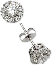 Marchesa - Diamond Cluster Stud Earrings (1 Ct. T.w.) In 18k White Gold - Lyst