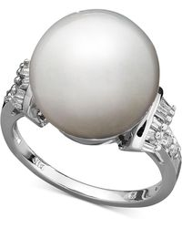 Macy's - 14k White Gold Ring, Cultured South Sea Pearl (13mm) And Diamond (1/4 Ct. T.w.) Ring - Lyst