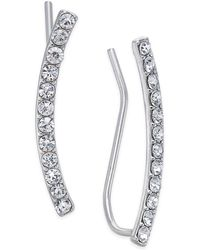 INC International Concepts - Silver-tone Pavé Crystal Ear Climbers - Lyst