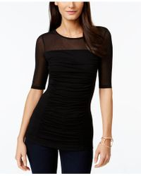 INC International Concepts - Short-sleeve Ruched Illusion Top - Lyst